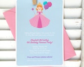 RESERVED custom princess birthday party invitation, digital princess party invitation, pink princess party for KRISTEN