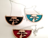 Tasmanian Myrtle Japanese Bonsai Tree Pendant Necklace in Teal, Maroon or Black - steel silver necklace