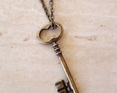 Skeleton Key Necklace, Key Pendant, Layering Necklace, Key Charm, Antique Brass Key Necklace