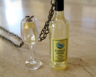Food Jewelry - White Wine Bottle and Wine Glass Necklace