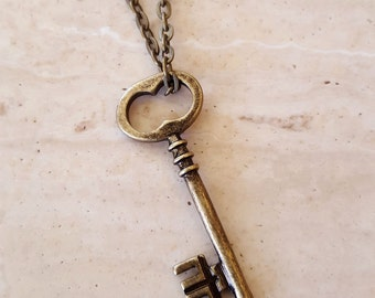 Skeleton Key Necklace, Key Pendant, Layering Necklace, Key Charm, Antique Brass Key Necklace
