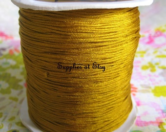 Antique Gold Silky Nylon cord bracelet/knotting/beading cord .8 mm 10 feet-Gold like silky Great Quality DIY Macrame,Shambhala Bracelet