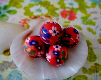 Sale  eco friendly red green cobalt floral Polymer Clay Beads Round  beads 10mm-Fancy handmade Floral beads- Floral  Pink purple red colors