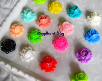 sALE DIY Kit for Bobbi Pins 100pcs flower cabochon-Kit for Hair Clips-Rose cabochon flat back 15mm-cabochon rose  hair clips,bobbi pins