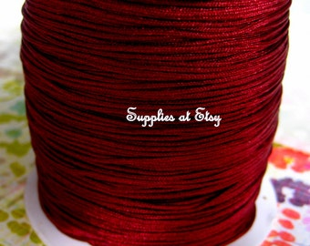 Dark Red Silky Nylon cord bracelet/knotting/beading cord  .8 mm 10 feet-like silky Great Quality DIY Macrame,Shambhala Bracelet