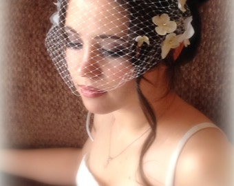 Birdcage Veil with Silk Flowers, Unique Bandeau Veil with Flowers,wedding veil,Bridal Birdcage veil,Wedding hair Accessory
