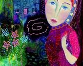 Noctambula. Art print from my mixed media painting, wall art, A4