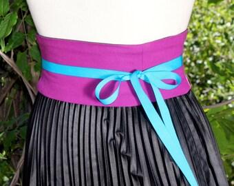 Berry Organic Corset Belt Boned Waist Cincher Cotton Obi Reversible Any Size