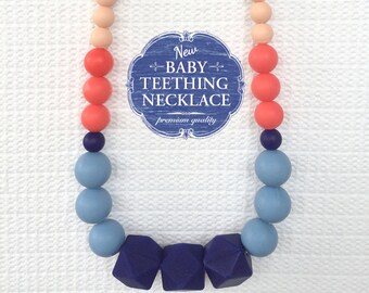 Free Shipping in Canada - Silicone Teething Necklace - Silicone Baby Nursing Necklace for Moms - Blue and Coral