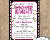 Birthday Invitation, Movie Night, Popcorn, Movie Theme, Movie Night Birthday Invitation, 5x7, PRINTABLE