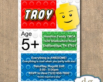 Birthday Invitation, Lego Party, Lego Birthday Invitation, Lego Birthday, Lego, 5x7, PRINTABLE