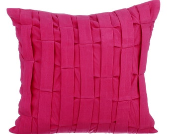 Pink Couch Sofa Cushion Covers 16 x 16 Pillow Covers Pink Suede Textured Decorative Pillows Pink Love Tune