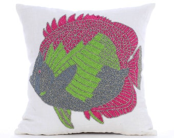 Decorative Throw Pillow Covers Couch Pillow Case Sofa Pillow Pillow 16x16 White Linen Pillow Cover Bead Embroidered The Fishy Way