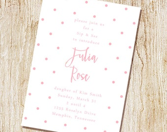 Baby Shower  Invitations - Digital File- Sip and See Invitation - Sip & See- Simple Dots - Modern typography
