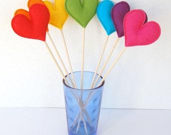 Rainbow Felt Hearts - Set of 7 Plush Handmade Felt Love Hearts on sticks. Heart Toppers. Felt Heart Sticks. Rainbow party decorations