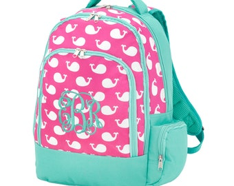 Pink & Mint Whales Backpack-Pink Whales Backpack-includes Monogram-Chevron Bookbag-School Bag
