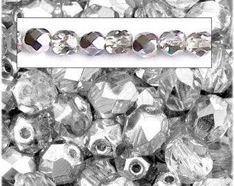 MERZIEs 25 fire polished faceted Czech glass 6mm round beads - crystal clear silver