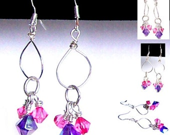 MERZIEs sterling silver earwires hand wire-wrapped open circle faceted glass ear wires dangle earrings