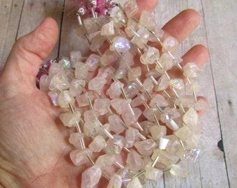 25% Off SALE Rainbow Mystic Rose Quartz Raw Nugget Briolette  Beads Rough Druzy Aqua Aura