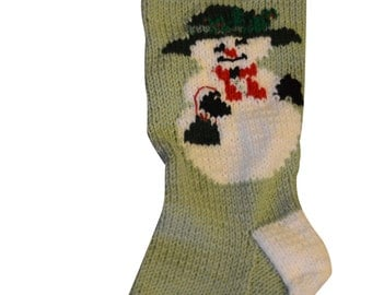 Personalized Christmas Stockings, Personalized Stocking, Snowman Stocking, Knit Christmas Stocking Pattern, Knitted Christmas Stocking