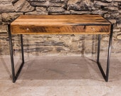 La Bohème - Designer Metal and Reclaimed Wood Writing Desk with Drawer