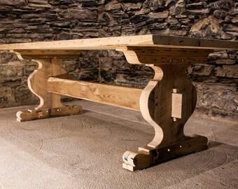 The Alpine - Bavarian Style Reclaimed Oak Trestle Table