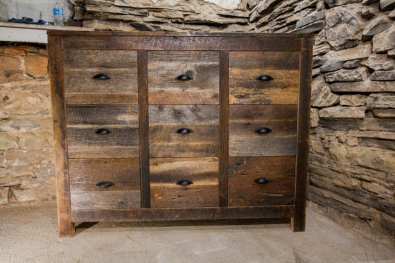 old bombay weathered grey reclaimed wood 9 drawer dresser