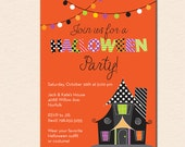 Haunted House Halloween Party Invitation (Printable File OR Cardstock Printed Cards Also Available)