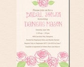 Pink Rose Garden - Bridal Shower Invitation (Digital File OR Printed Cardstock Cards Also Available)