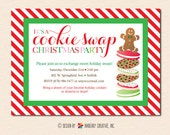 Christmas Cookie Swap Party Invitation (Digital File OR Printed Cardstock Cards Are Available)