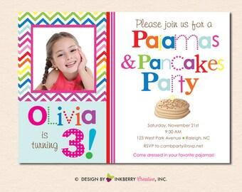 Rainbow Chevron Pancakes and Pajamas - Birthday Party PHOTO Invitation (Digital File or Upgrade to Printed Cards)