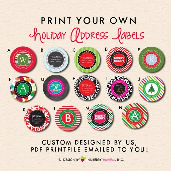 Christmas Holiday Return Address Labels Custom Designed For Made