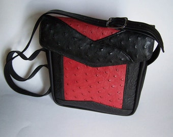 Ostrich Leather Handbag - Genuine Ostrich Red and Black Leather Purse