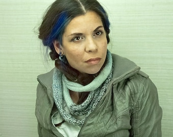Blue Ombre Wool Cowl Circle Infinity Scarf