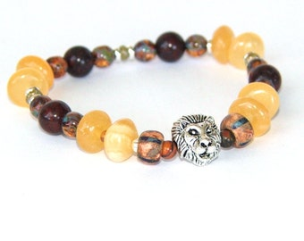 Lion Totem Bracelet, Black Onyx & Czech Glass Beaded Stretch Bracelet