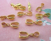10 Pieces of Gold Color Pendant Bail Jewelry Findings