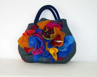 Felted Bag Artistic Flowers Handbag