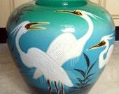 Japanese Large Ginger Jar-  Moriage Asian Vase - Signed Marked Mantel Decor- Chinese Decor - Crane Birds - Gold Gilded Teal to Blue