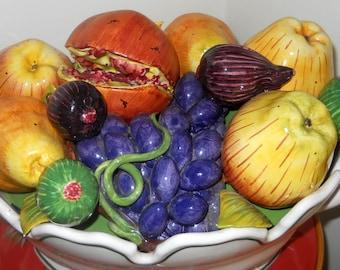 SALE Large Majolica Porcelain Fruit Bowl - Italy Este Basket Centerpiece Display Bowl - Trompe L'Oeil Sculpture - Hand Painted Fruit Platter