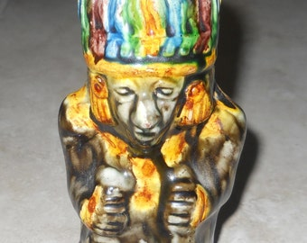 Indian Chief Pipe Holder Tobacco Ashtray - Hand Painted Antique Majolica - Vintage Smoking Pipe Stand - Peace Pipe God Warrior -