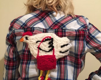 Flannel Shirt Embellished with Chicken Image