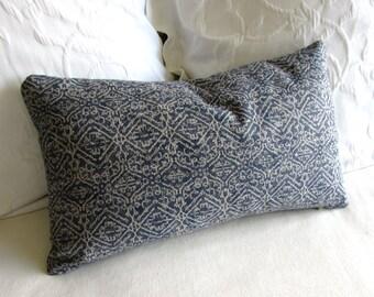 Priya Indian Blue ikat decorative Pillow 12x20 includes insert