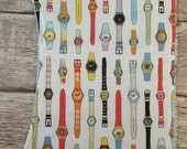 Retro Swatch watch burp cloth set with blue chenille