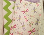 Dragonfly and chevron burp cloth set with purple chenille backing