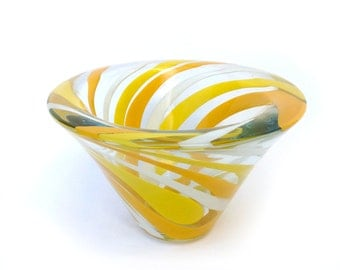 Holiday Sale Murano Art Glass Dish Yellow & White Swirl Mid Century Modern