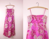 1960s Malcolm Starr Vintage Pink Satin Ball Gown S/M