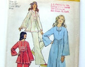 1970s Vintage Sewing Pattern - Peasant Top or CAFTAN - Simplicity 6044 - UNCUT Factory Folds/ Size 12