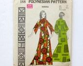 Kahiko Flared Sleeve Muu Muu Tiki Dress Polynesian Pattern 188 / Size 10