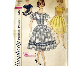 1960s Vintage Sewing Pattern - Rockabilly Dress - Shirt Waist Dress Mad Men - Simplicity 3338 / Size 13
