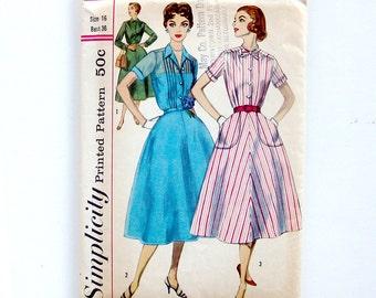 1950s Vintage Dress Pattern Slenderette Shirtwaist Dress Flared Skirt with Pockets / Size 16 Bust 36
